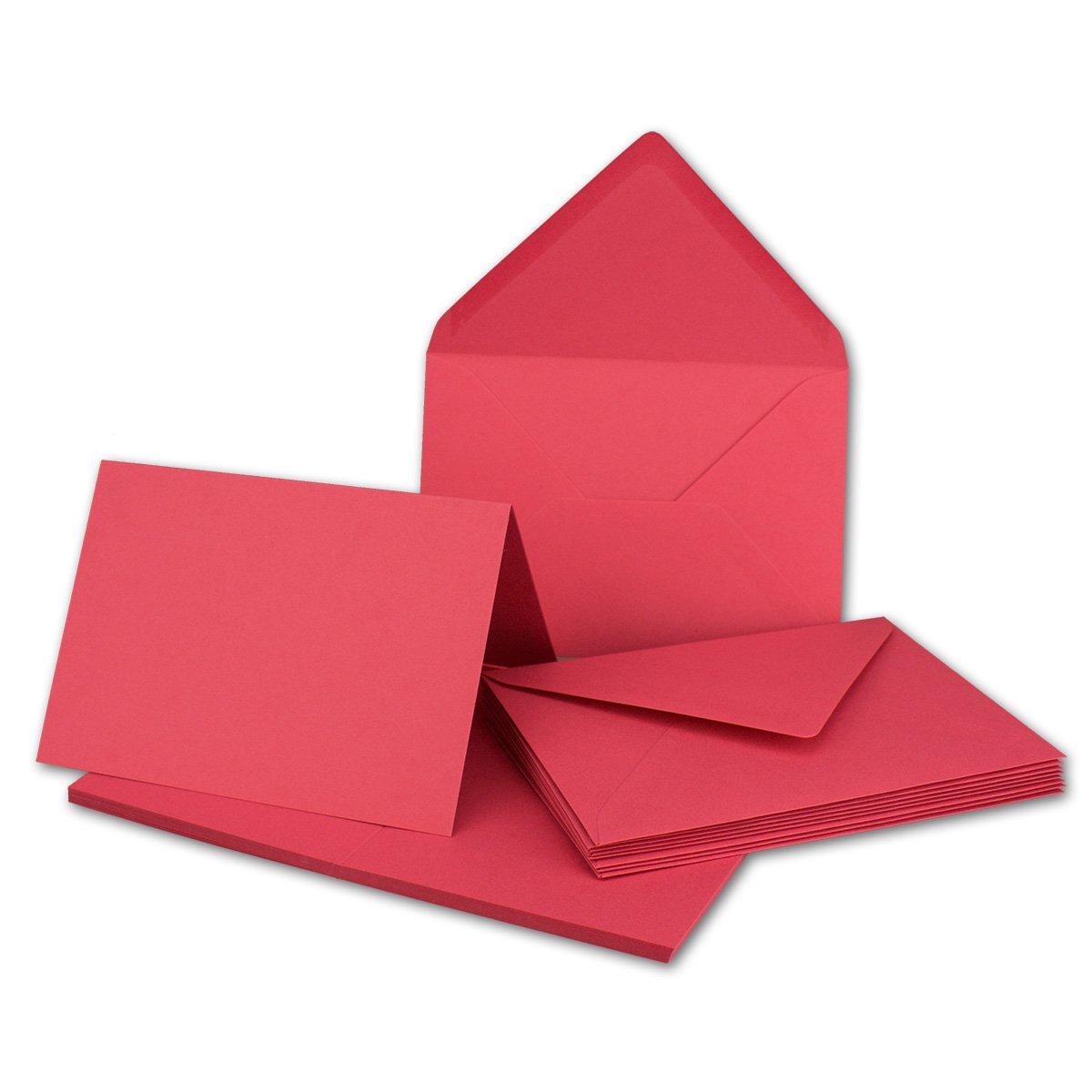 Faltkarten Set mit Brief-Umschlägen DIN A6   C6 in Rosanrot   100 Sets   14,8 x 10,5 cm   Premium Qualität   Serie FarbenFroh® B079Z88W6C | Merkwürdige Form