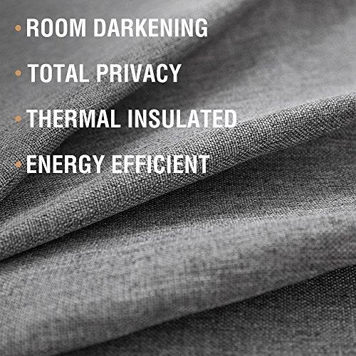 jinchan Linen Grommet Room Darkening Curtains Linen Living Curtain Panel
