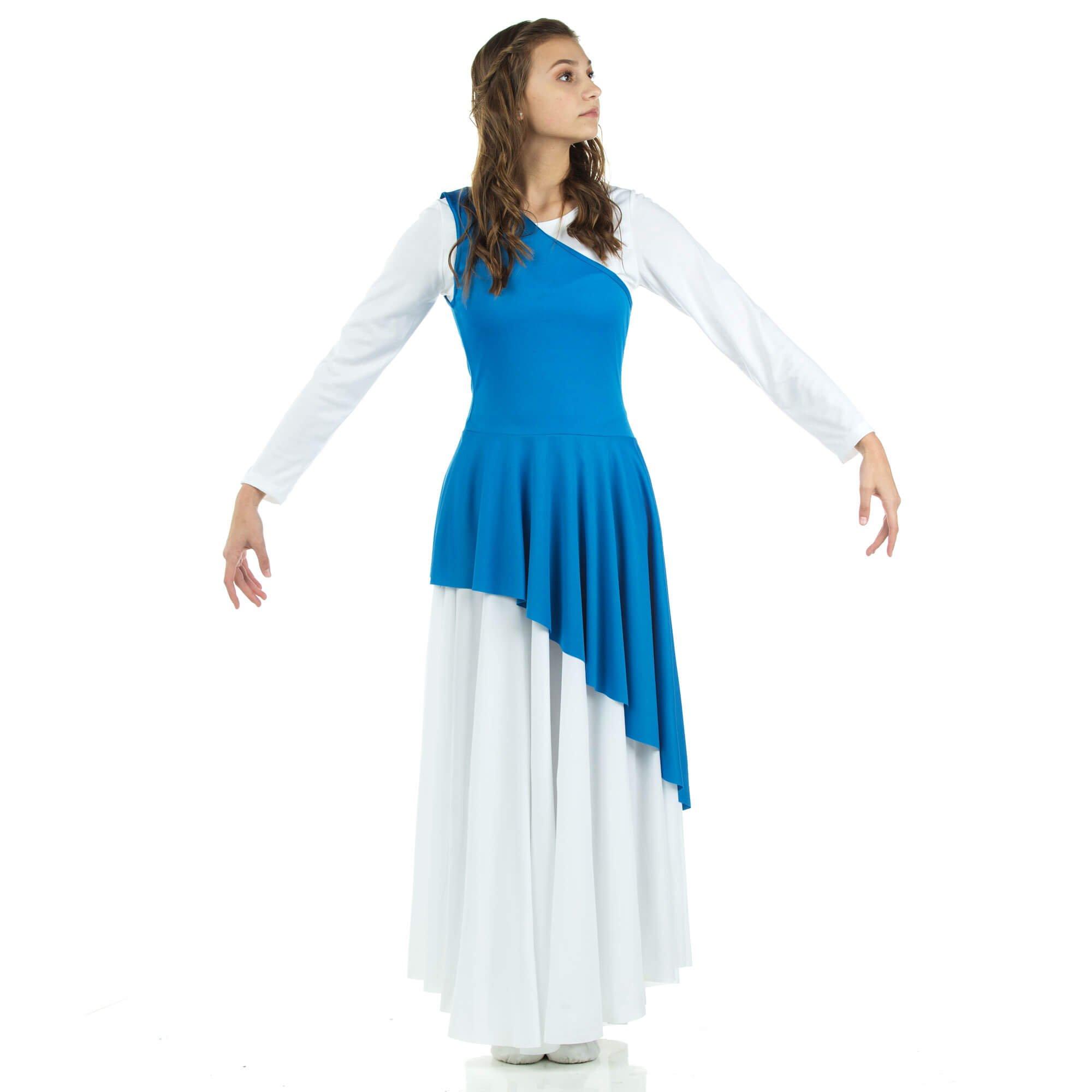 Danzcue Women's Asymmetrical Praise Dance Tunic, Bright Royal, L-XL-Adult by Danzcue