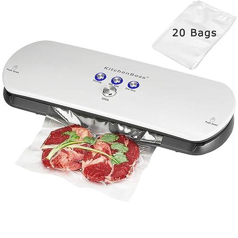 KitchenBoss Envasadora de Alimentos al Vacío,Sistema de Sellado Automático por Vacío,con Kit de Arranque 20 Bolsas Envasado al Vacío(Blanco)