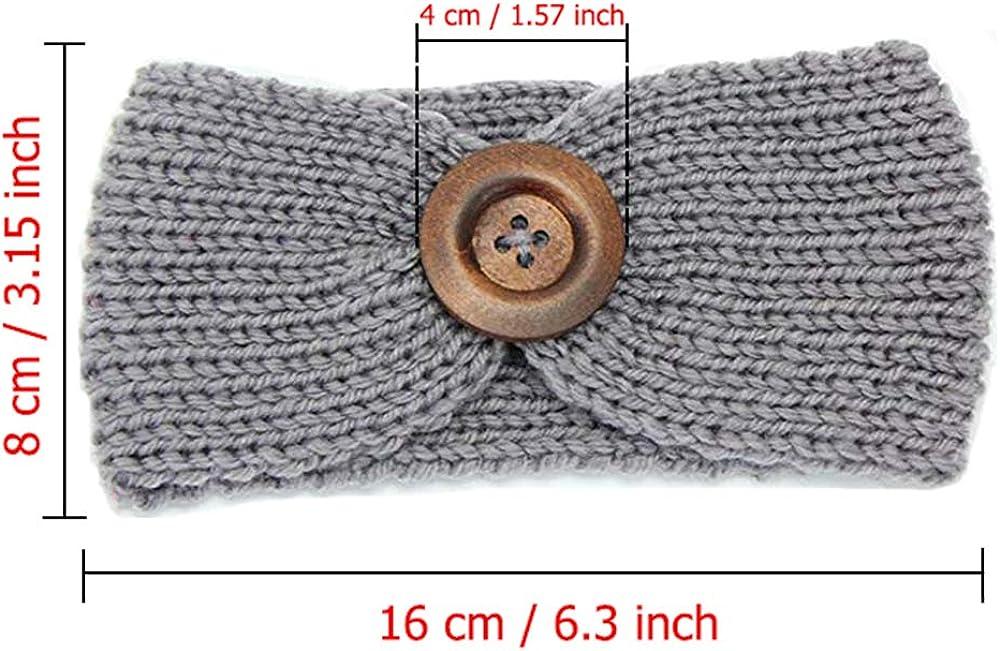G-Tree 6 Pezzi neonata inverno caldo fasce Turbante maglia di lana Headware capelli Cuffie involucro del bambino del elastica fasce per capelli carino migliore regalo per la neonata