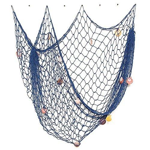(FirstDecor Blue Creative Mediterranean Style Nautical Fishing Net with Shells Seaside Beach Party Wall Decoration)