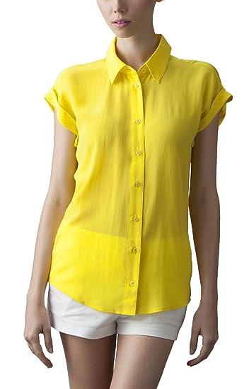 924ac535 VAUGHAN Women's Silk Shirt Cap Sleeve Button Up Yellow Blouse at Amazon  Women's Clothing store: