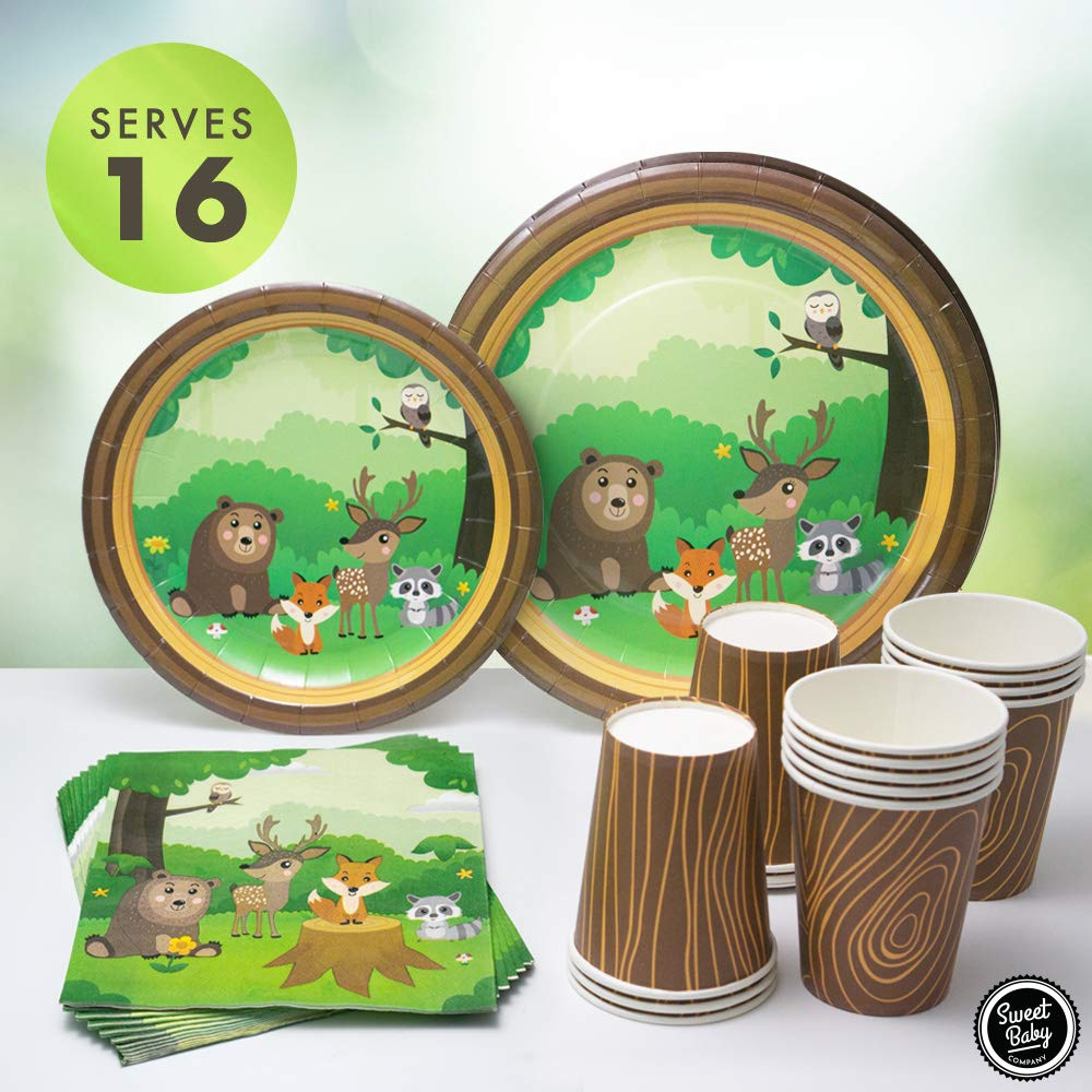 Sweet Baby Co. Woodland Party Supplies for 16 with Paper Plates, Napkins, Cups of Fox, Deer, Bear, Raccoon Forest Creatures and Animals Theme for Woodland Baby Shower Decorations, Birthday, Camping by Sweet Baby Company