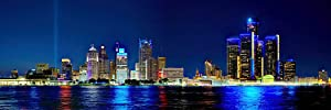 Detroit Skyline 2018 Photo Print UNFRAMED Night Color City Downtown 11.75 inches x 36 inches Photographic Panorama Poster Picture Standard Size