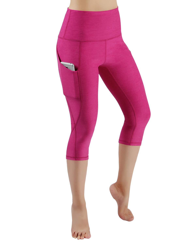 ODODOS High Waist Out Pocket Yoga Capris Pants Tummy Control Workout Running 4 Way Stretch Yoga Leggings,Fuchsia,X-Small by ODODOS (Image #2)
