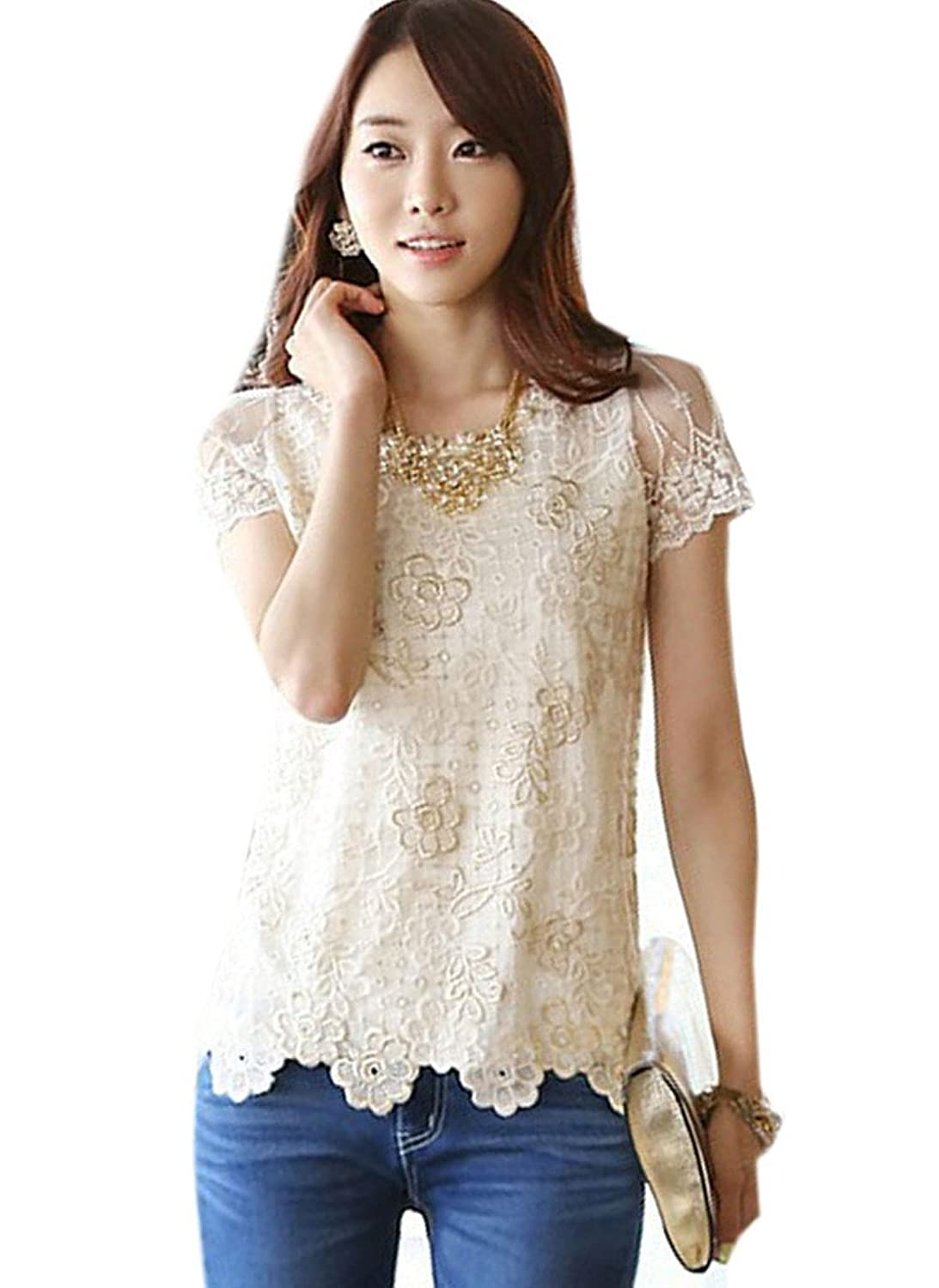 Buy-Box Women's Short Sleeve Lace Shirt Chiffon Mesh Blouse
