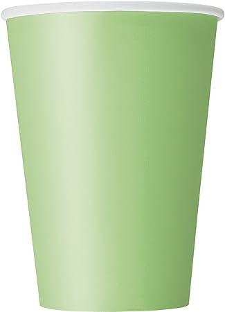 Paquete de 10 vasos de papel de color verde lima,Los vasos de papel tienen una capacidad de 355 ml a