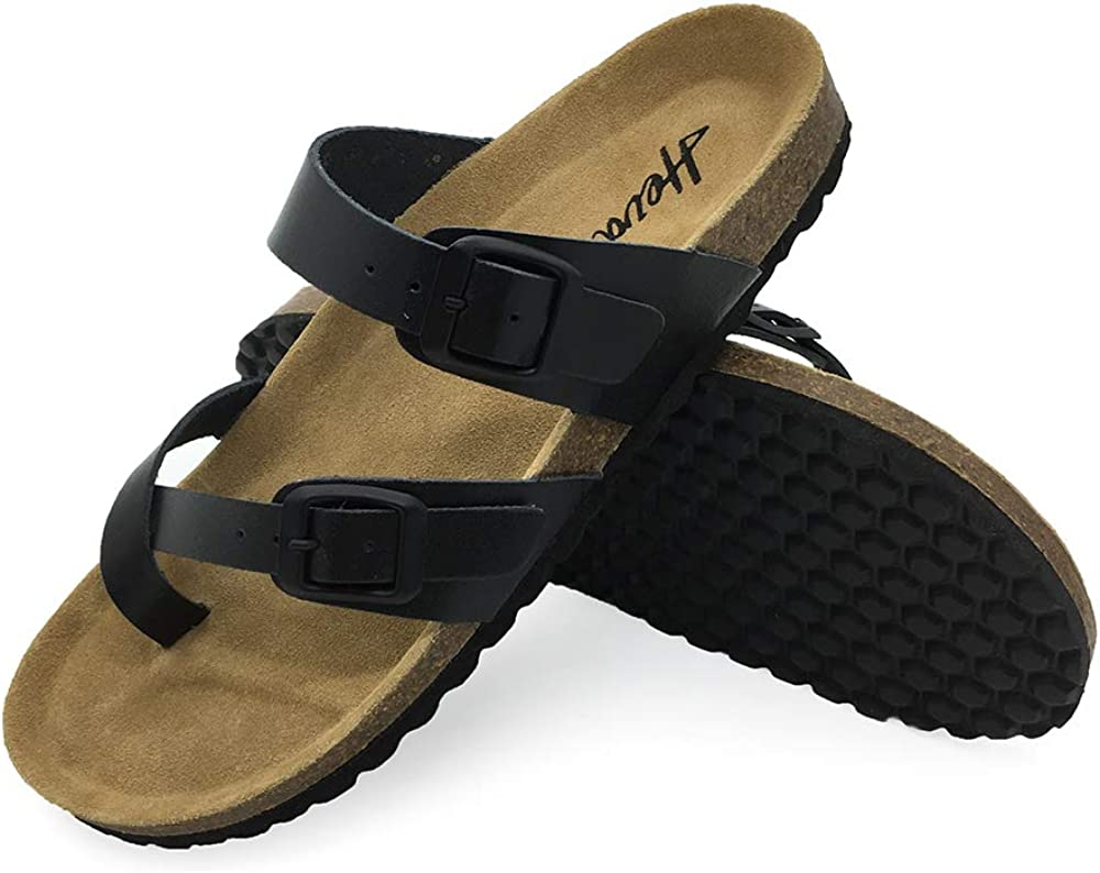 FUNKYMONKEY Women's Mayari Leather Sandal Cross Toe Double Strap Cork Flip Flops
