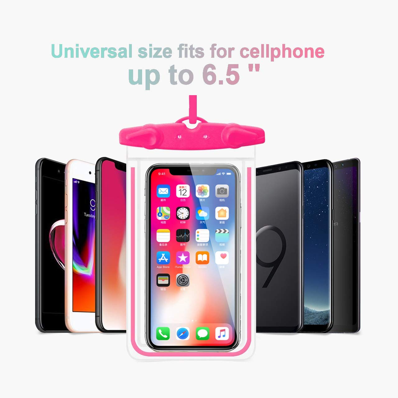 Waterproof Case WJZXTEK Dry Bag Phone Pouch for Outdoor Water sports Case With Sensitive Screen Perfect For iPhone X 8 7plus 6S 6S Plus Note 5 S7 S6 Edge LG phones Up to 6 inch (Blue+Orange+Red+Black)