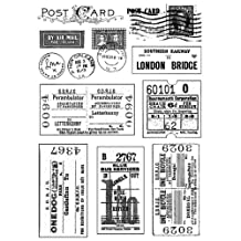 Crafty Individuals Unmounted Rubber Stamp 4.75-Inchx7-Inch Package-Vintage Tickets and Postmarks