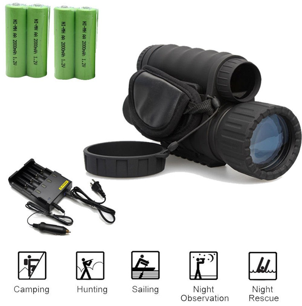 Boblov Bestguarder WG-50 Infrared Night Vision HD 720P IR Monocular Telescope 1.5'' color LCD screen 6x50 Zoom Record DVR (Mit 2 Pair Batterie+ 1 Charger Kit)