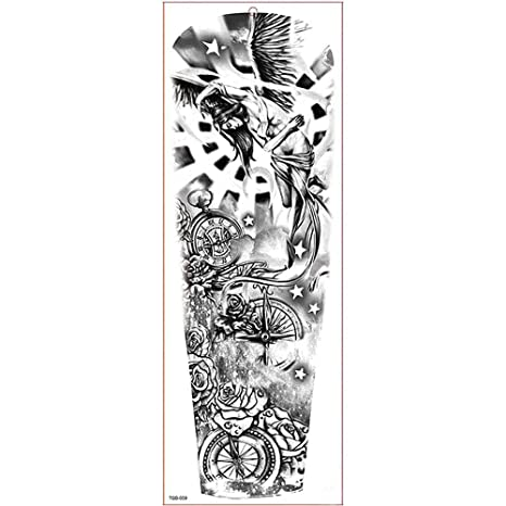 ZHAOSN Etiqueta engomada del tatuaje Manga Grande del Brazo ...