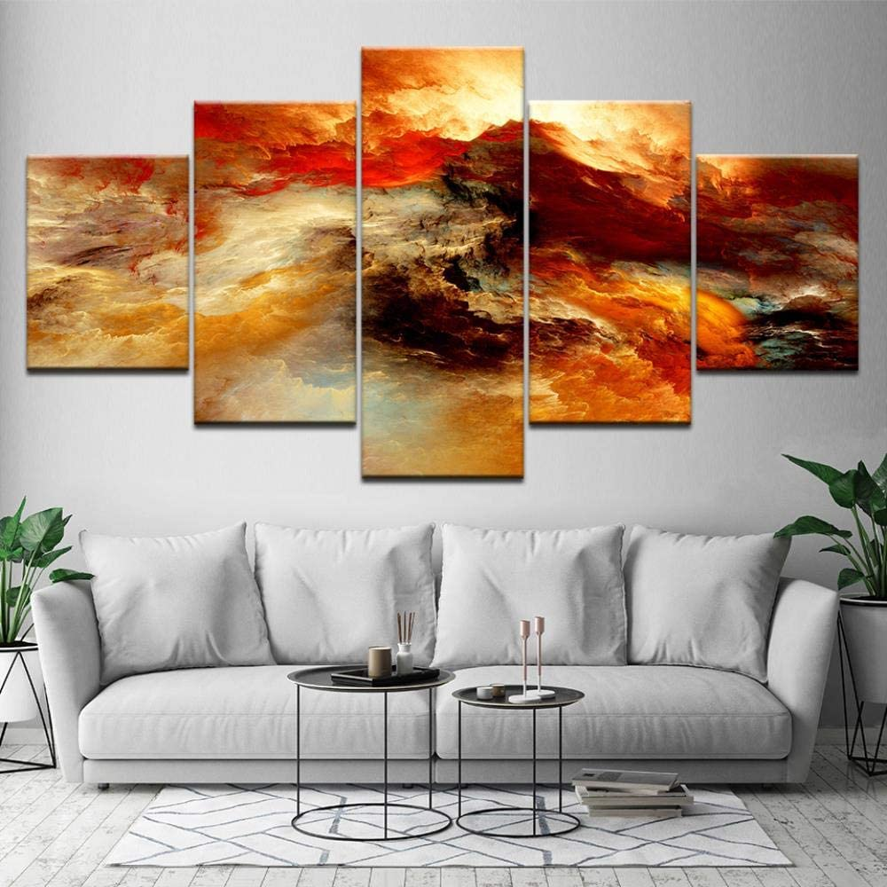 Canvas painting 5 panel Modern Home Decor Wall Arts Large 5 Panel Painting Winter River Pictures Print Abstract Landscape Oil Paintings on Canvas