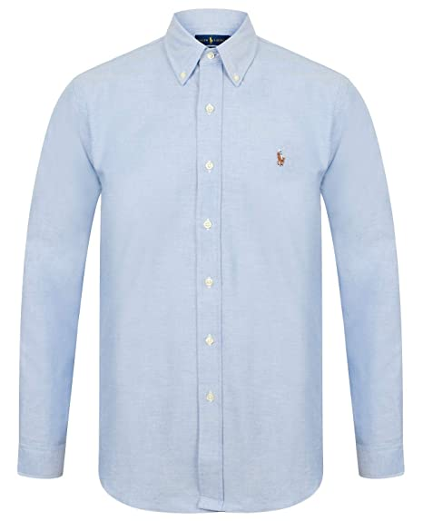 101753a2c Ralph Lauren Polo Mens Slim Fit Stretch Oxford Shirt Long Sleeve  White Blue  Amazon.co.uk  Clothing