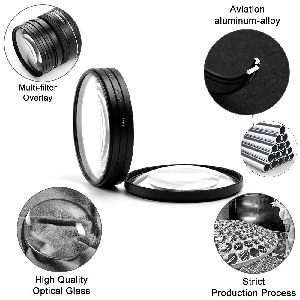 +1,+2,+4,+10 77mm Close-up Filter Kit,Fotover 4 Pieces Macro Filter Accessory Close-up Lens Filter Kit Set with Lens Filter Pouch for Canon Nikon Sony Pentax Olympus Fuji DSLR Camera+Lens Cap