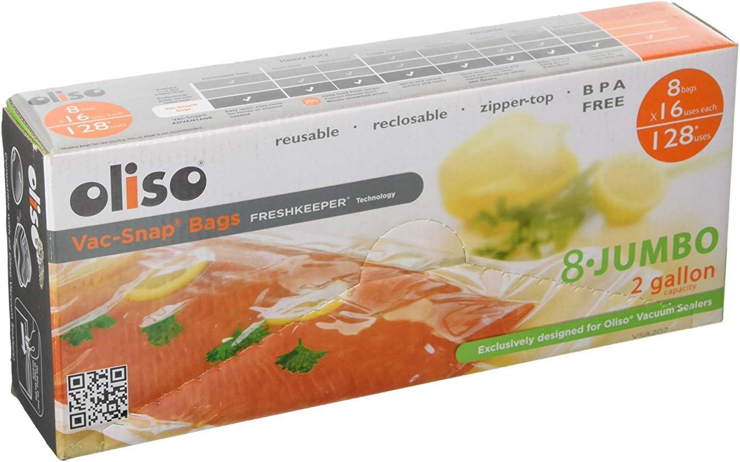Oliso 8 Jumbo (2 Gallon) Vac-Snap Bags - Reusable Zipper-top reclosable BPA Free Vacuum Bag