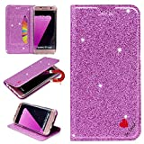 Stysen Galaxy S7 Edge Glitter Wallet Case,Flip Stand Function Cover for Samsung S7 Edge,Shiny Bling Love Heart Design Leather Cover for Samsung Galaxy S7 Edge-Purple