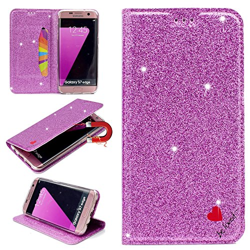 Stysen Galaxy S7 Edge Glitter Wallet Case,Flip Stand Function Cover for Samsung S7 Edge,Shiny Bling Love Heart Design Leather Cover for Samsung Galaxy S7 Edge-Purple by Stysen
