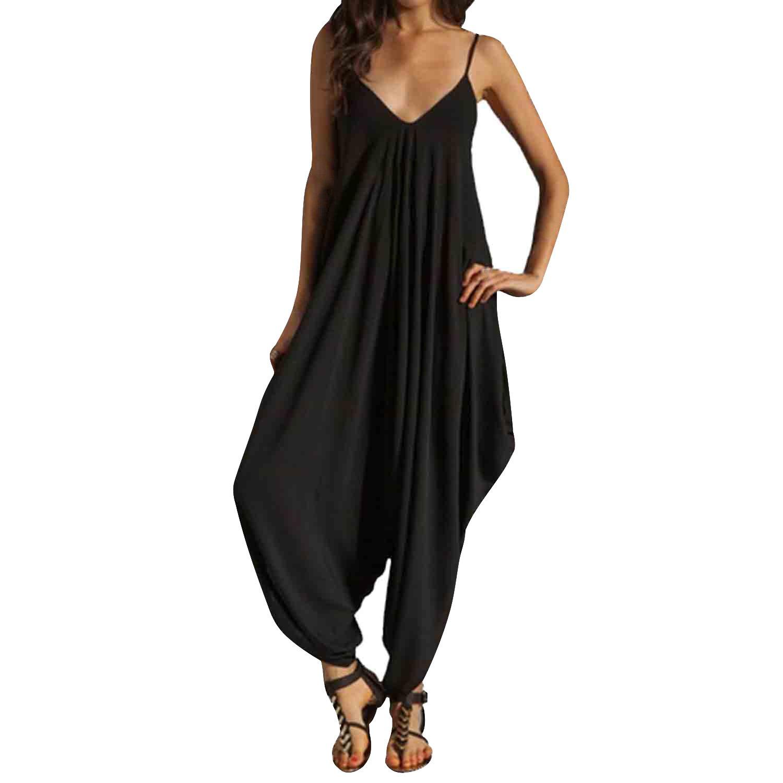 SUNNOW® Damenmode Frauen Jumpsuits Hosen Shorts V-Ausschnitt Beachwear Overall Harem Pants Sommer