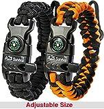A2S Paracord Bracelet K2-Peak – Survival Gear Kit with Embedded Compass, Fire Starter, Emergency Knife & Whistle – Pack of 2 - Slim Buckle Design (Black / Orange Adjustable Size)