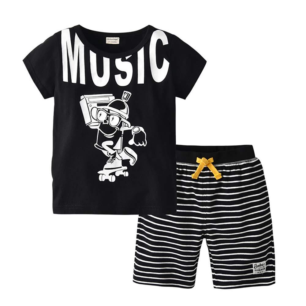 SANHION Little Boys Cotton Summer Short Sleeve T-Shirt /& Plaid Shorts Set 2 Pieces