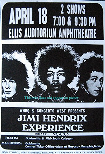 Jimi Hendrix Experience 1969 Memphis concert repro ad POSTER 14.5 x 21 (sent FROM USA in PVC pipe)