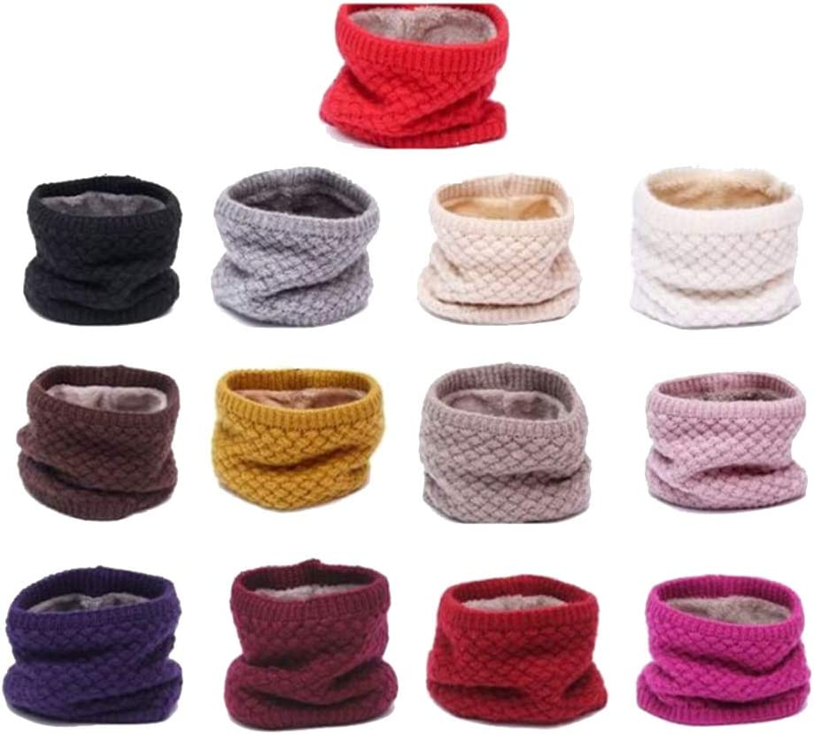 Verlike Winter Infinity Scarf Neck Warmer for Men Women Soft Fleece Lined Thick Knit Circle Scarf Windproof