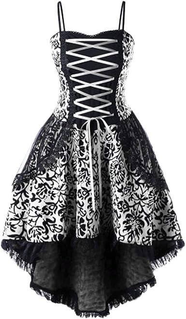 Cinnamou Vestido Mujeres Disfraz Gotico Mujer Blusa Vendaje ...