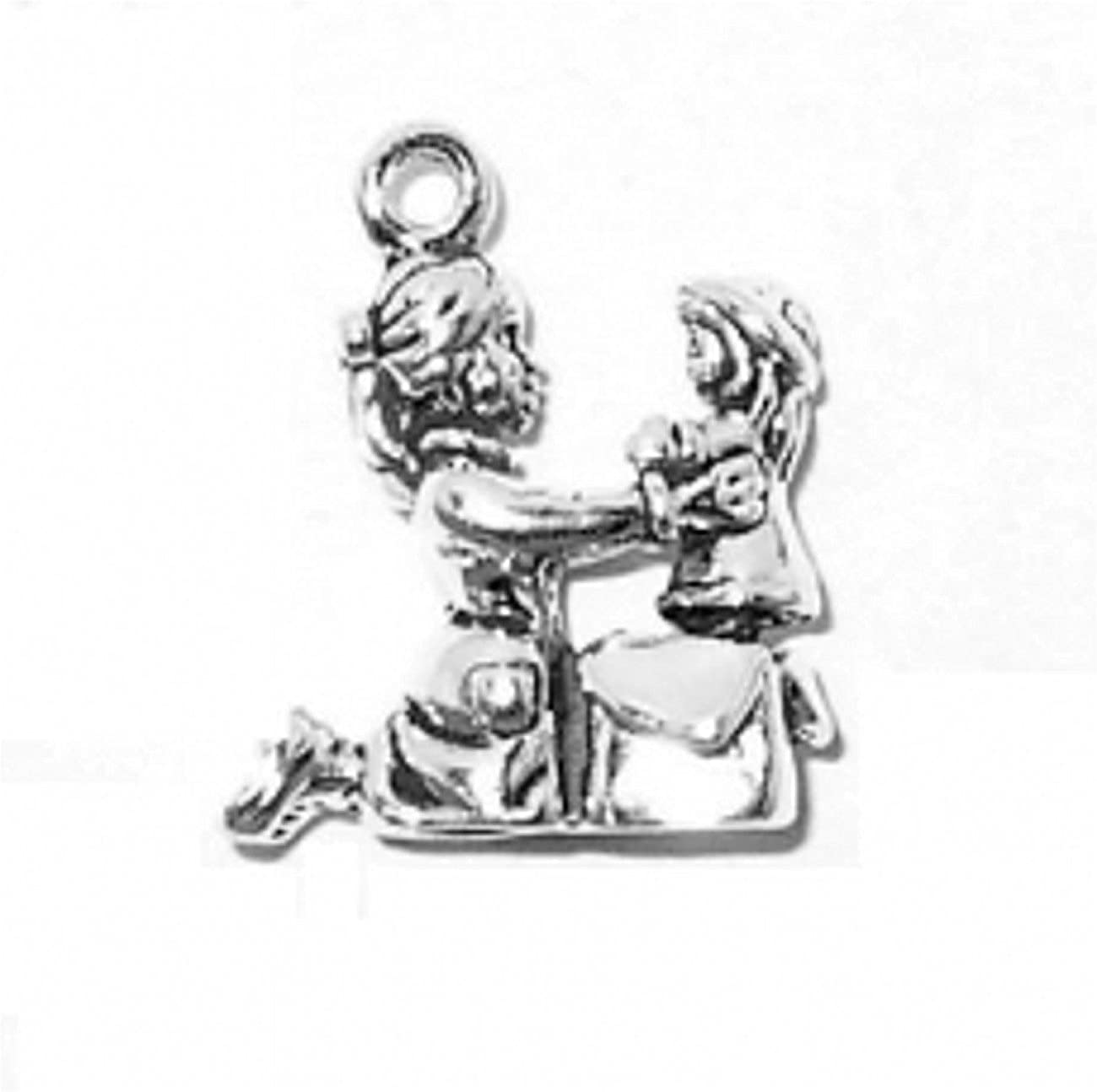 Sterling Silver Girls .8mm Box Chain 3D Young Girl Playing Receiving A Doll Pendant Necklace