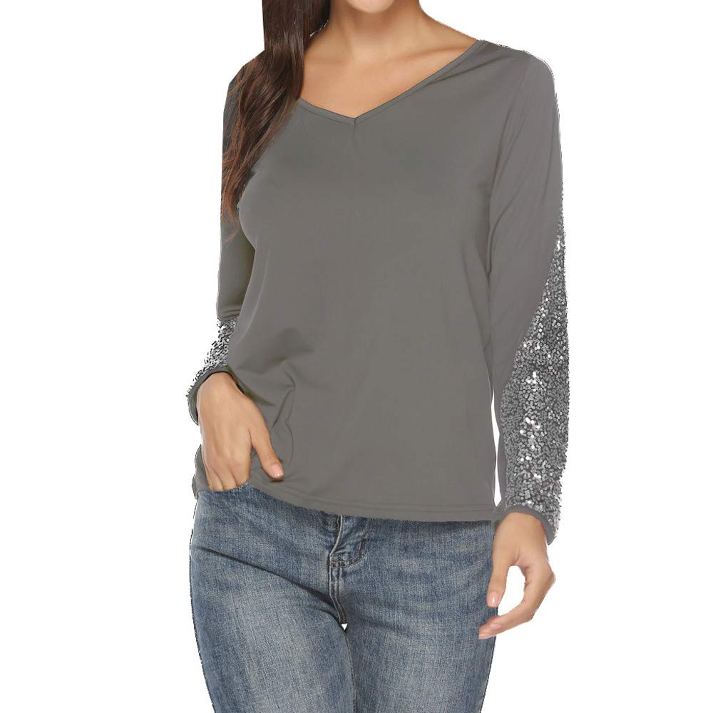 HULKAY Womens Fashion Sequin Long Sleeve V-Neck T-Shirt Tunic Tops Blouses(Gray,M) by HULKAY