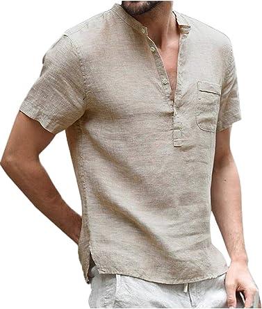 Camisa De Lino De Manga Corta con Cuello De Soporte De Verano para Hombre: Amazon.es: Ropa y accesorios