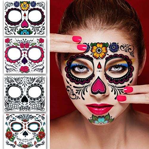 Leoars 4 Sheets Glitter Floral Day of the Dead Sugar Skull Temporary Face Tattoo Kit, Temporary tattoos for Men Women Halloween Costume Accessories and -