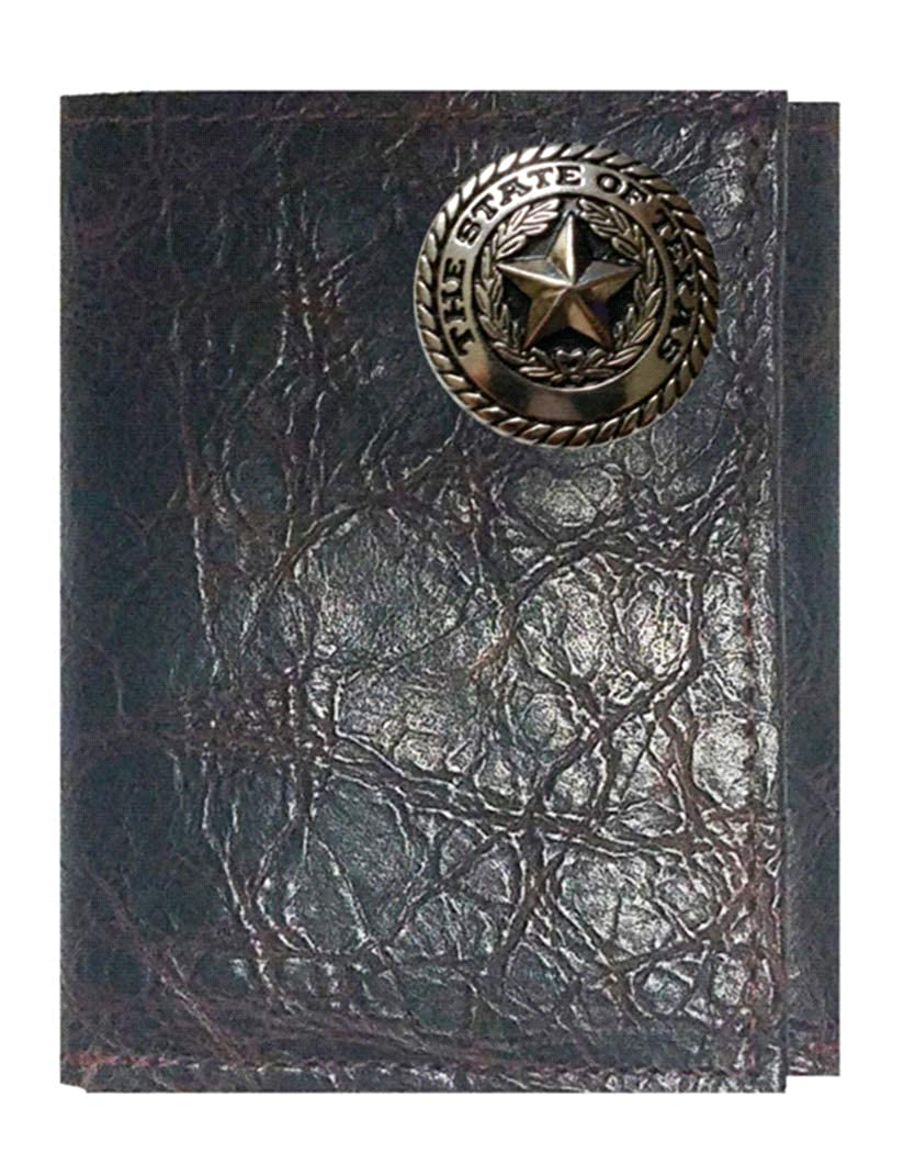 Custom Texas Silver Seal Concho on a Chocolate Harness Leather Trifold Wallet Proudly made in the USA.