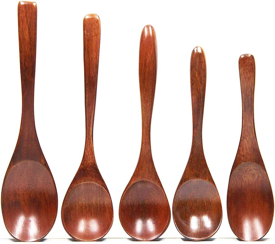 Wooden Spoons 6 Pieces 9 Inch Wood Soup Spoons for Eating Mixing Stirring,