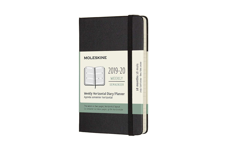 Moleskine - Agenda semanal horizontal de 18 meses, académica 2019/2020 con tapa dura y goma elástica, color negro, tamaño pequeño 13 x 21 cm, 208 ...