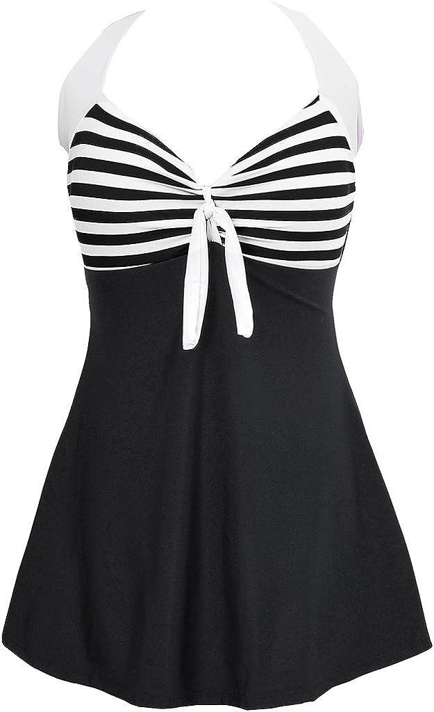 Lulupi Badekleid Damen Neckholder Mesh Badeanzug Tankini Gro/ße Gr/ö/ßen Zweiteiliger Gebl/ümt Bademode Bauchweg R/ückenfrei Strandkleid Bikini Beachwear