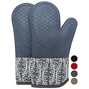 DETA HOME Heat Resistant Silicone Oven Mitts With Quilted Cotton Lining, 1 Pair Non - Slip Extra long Oven Gloves for BBQ, Cooking, Baking, Grilling, Barbecue, Mimicrowave, Machine Washable (Gray)
