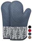Professional Silicone Oven Mitts/gloves - 1 Pair - Non-slip texture silicone handle / Quilted pad insulation pad High temperature 500 degrees, Suitable for Microwave / Grill / Kitchen Products(Gray)