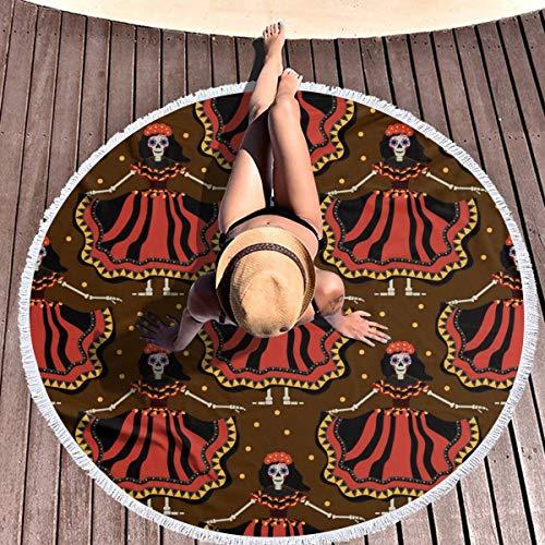 (Kiomentin Dia De Los Muertos Calavera Katrina Round Beach Towel Microfiber Beach Blanket Large Round Soft Lightweight 7 Times Water Absorption Tapestry Wall Hanging for Women Men(59x59)