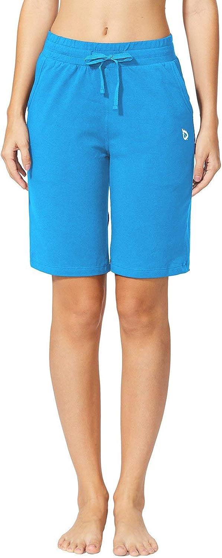 BALEAF Womens Active Bermuda Shorts Cotton Sweat Pants Gym Workout Yoga Lounge Long Shorts with Pockets
