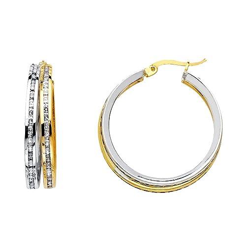 14K Two Tone Gold RD CZ Stone Channel 2 Line Hoop Hinged Earrings Ioka