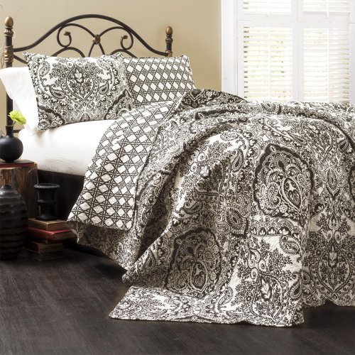 (Lush Decor Aubree Quilt Paisley Damask Print Pattern Reversible 3 Piece Lightweight Bedding Blanket Bedspread Set, King, Black/White)