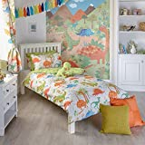 Riva Paoletti Kids Dinosaur Double Duvet Set - 2 x Pillowcases Included - White and Green - Reversible Design - Machine Washable - 200 x 200cm (79' x 79' inches) - Designed in the UK