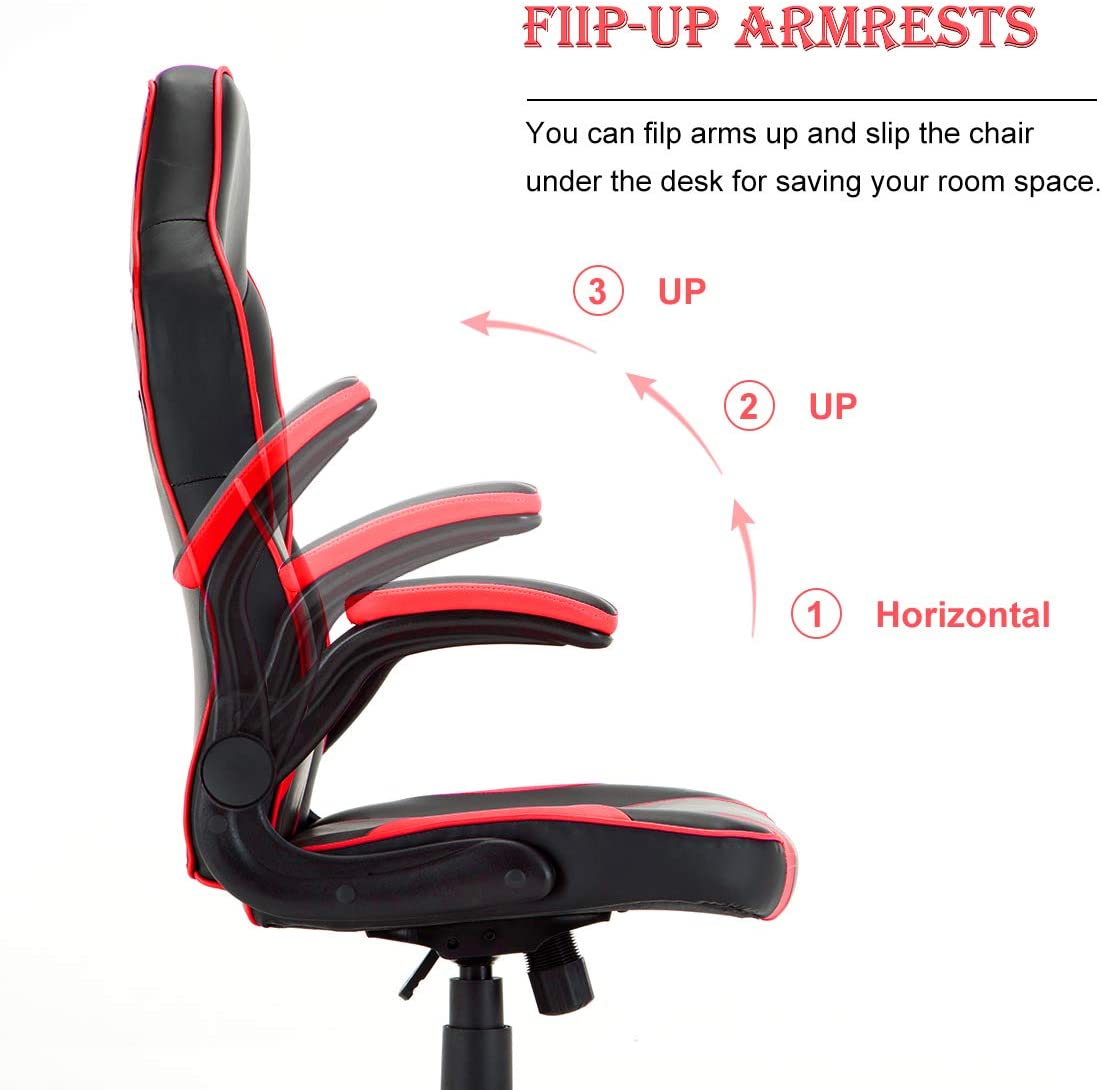 Racing Style PU Leather Gaming Chair – Ergonomic Swivel Computer, Office or Gaming Chair Desk Chair HOT RED