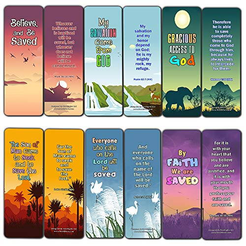 - Salvation Scriptures Cards Bookmarks for Kids (60 Pack) - Perfect Gift Away for Sunday School and Ministries