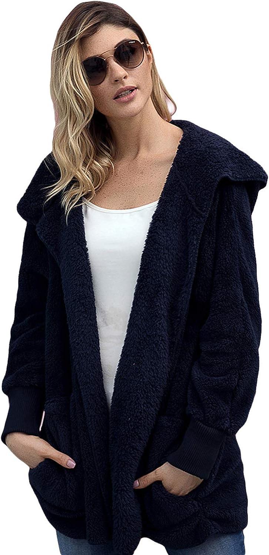 Mingnos Women Fuzzy Fleece Open Front Hooded Jacket Coat Pockets