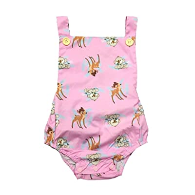 Amanod Newborn Baby Girl Cartoon Deer Print Backless Romper Jumpsuit Outfits Clothes
