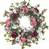 Pink & Burgandy Cabbage Rose Wreath - Everyday Wreath (26 inch)