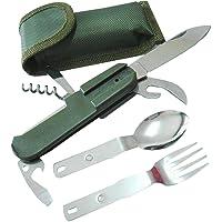 Couvert Pliable Assembler Couteau Fourchette Cuillère pour Extérieur Camping Randonnée Pique-nique Outil Multifonctio Couteau Pliant Kit